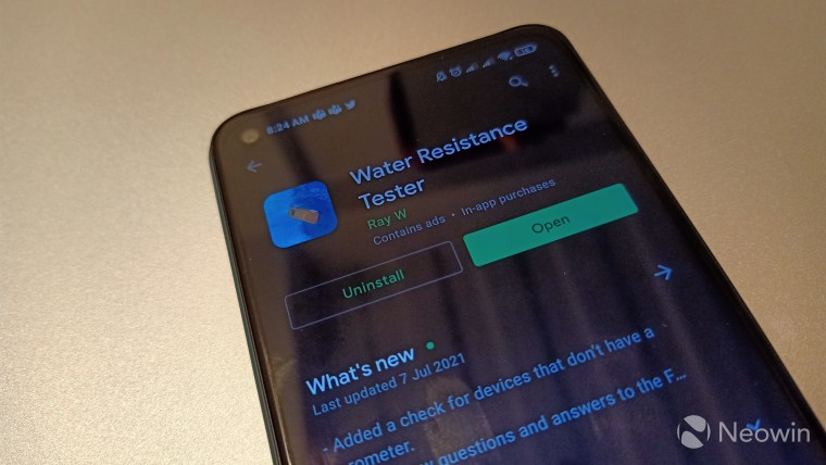 Play Store listing of the Water Resistance Tester app