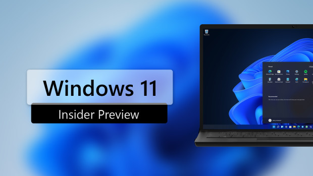 A Windows 11 desktop on a laptop with Windows 11 Insider Preview Written next to it