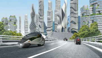 A smart city with futuristic cars and buildings