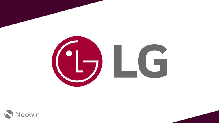 The LG logo on a white and dark red background