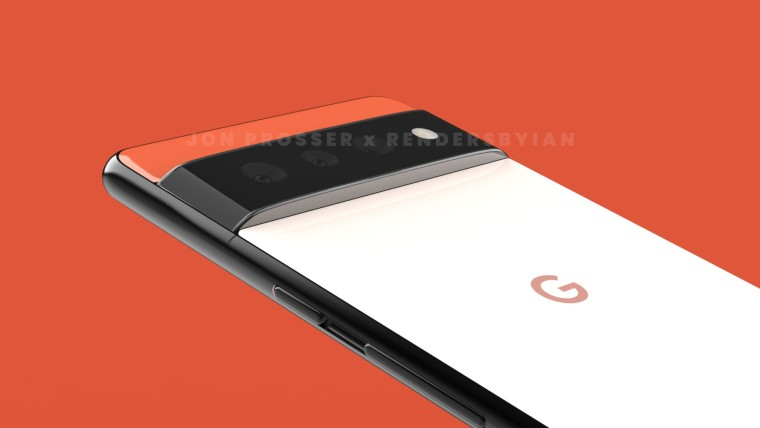 Back panel of the rumored Google Pixel 6 and 6 Pro with a horizontal hump housing the rear cameras