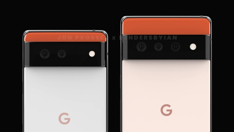 Back panels of the Google Pixel 6 and 6 Pro with their horizonal camera humps