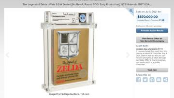 A sealed 1987 NES copy of The Legend of Zelda sold for 870000