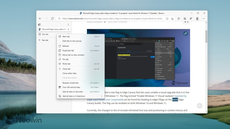 An Edge Canary window showing the new Windows 11 visual design with rounded corners