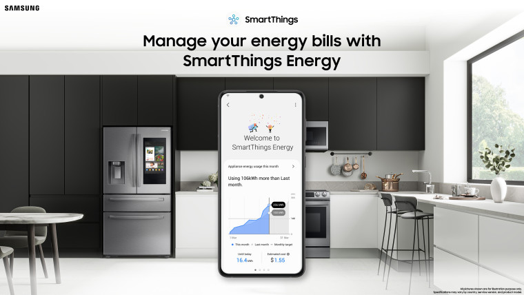 A screenshot of SmartThings Energy in front of a backdrop of a kitchen