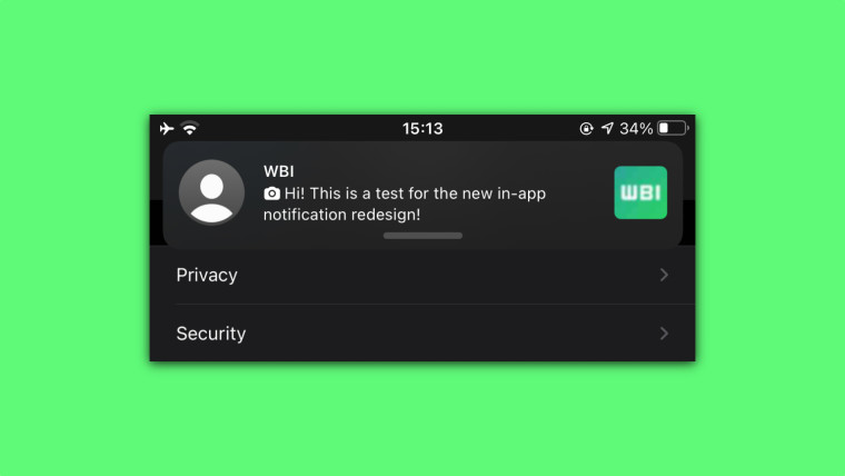 WhatsApp Redesigned In-app Notification