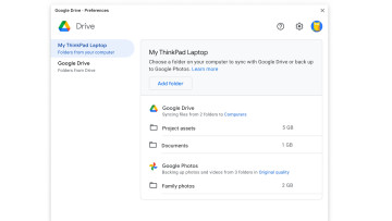 Drive for desktop client showing an option to sync a local folder with Drive or Google Photos