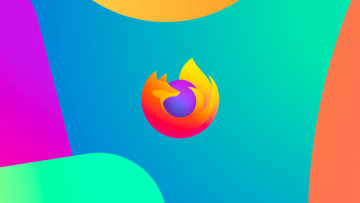 The Firefox logo on a multi-coloured background