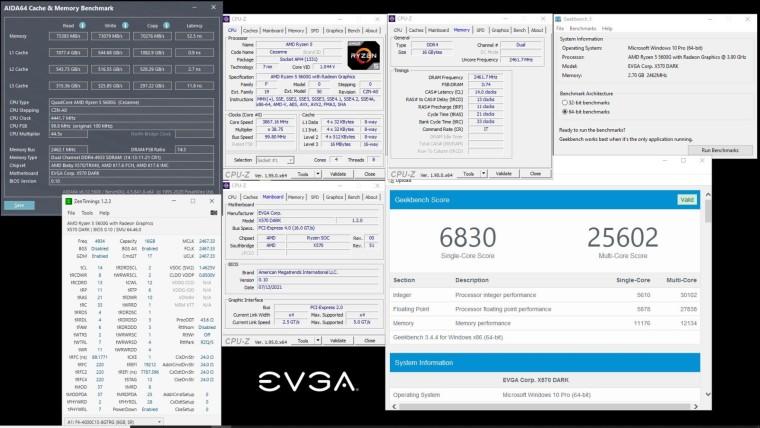 Memory testing on EVGA X570S DARK AMD motherboard