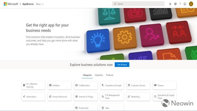 A screenshot of the Microsoft AppSource homepage