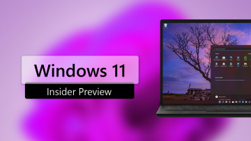 A laptop with a Windows 11 screenshot and Windows 11 INsider Preview written next to it