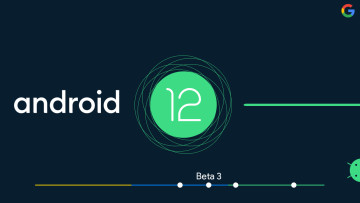 Android 12 and Android logos with a timeline indicating the position of Beta 3