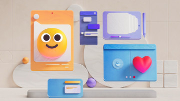 3D Emoji design from Microsoft showing smiling faces and other illustrations