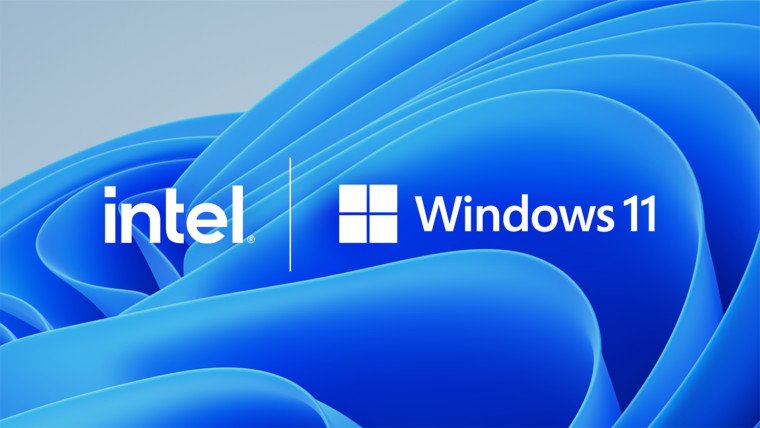 Intel and Windows 11 logos side by side with Windows 11 default wallpaper as background