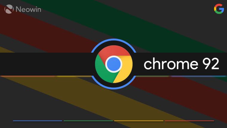 Google Chrome logo against a dark rectangular shape with chrome 92 written next to it