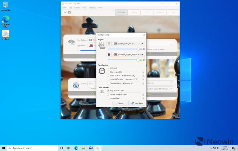 Screenshot of PyChess running on Windows