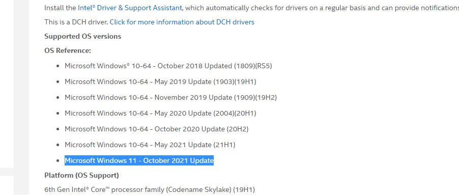 Screenshot of Intel driver document