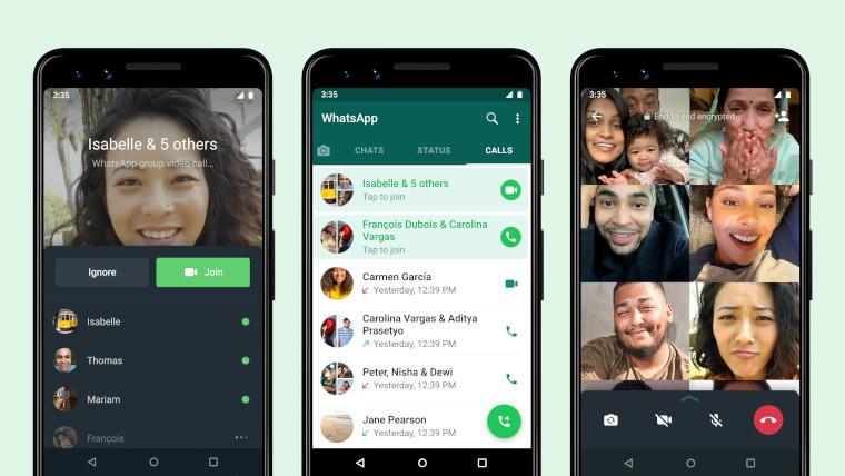 Screenshots of WhatsApp&039s joinable calls
