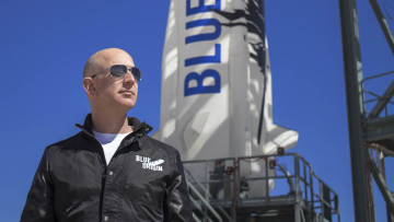 Jeff Bezos at New Shepards West Texas launch facility before the rockets maiden voyage