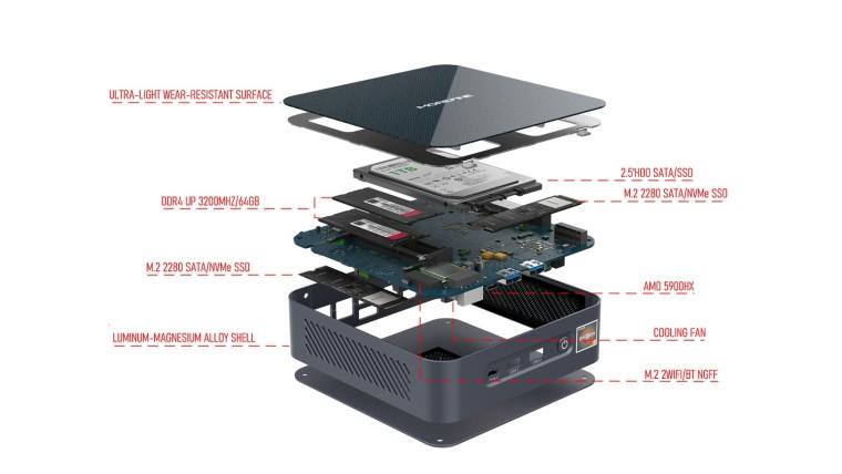 The internals of the Morefine S500 Ryzen 9 5900HX mini PC