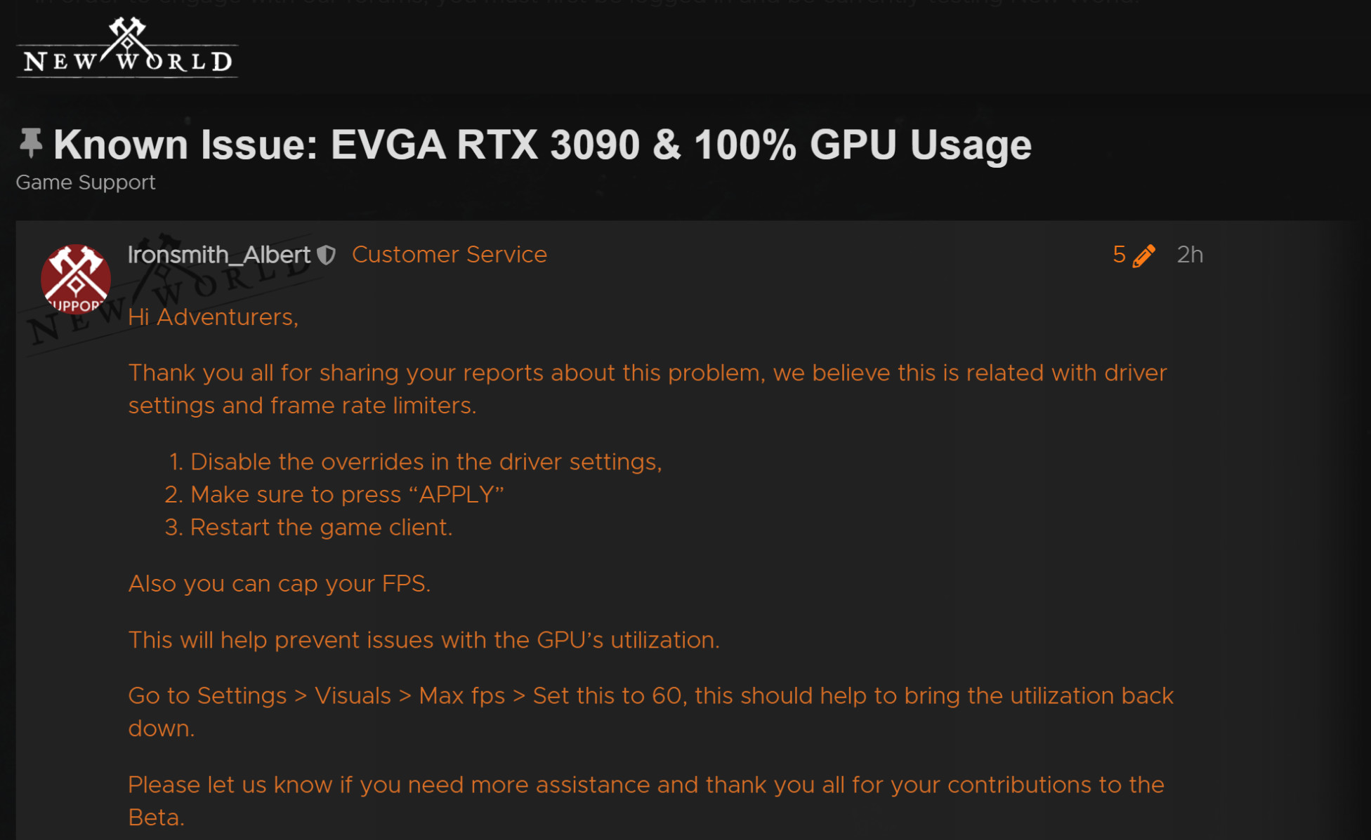 Possible solution for RTX 3090 on Amazon New World
