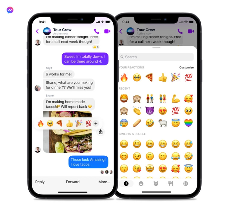 New emoji search bar and recent reactions in Messenger
