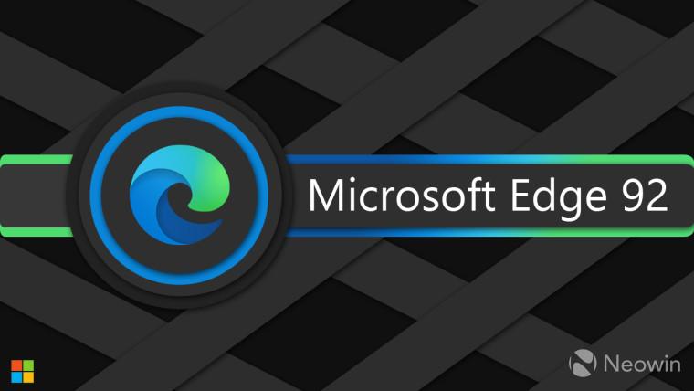 Microsoft Edge logo with Microsoft Edge 92 written in the center