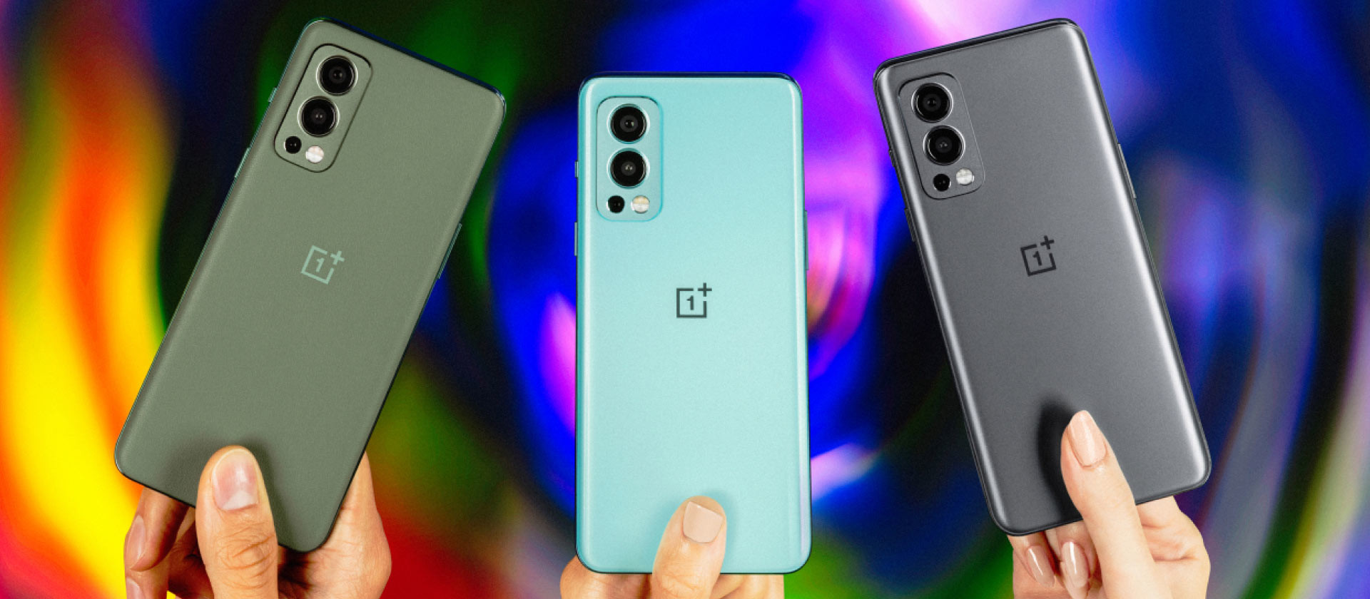OnePlus Nord 2 5G in Gray Sierra Blue Haze and Green Woods