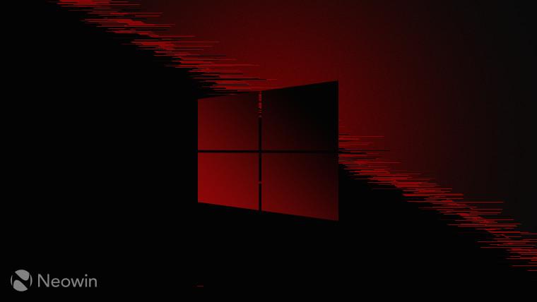 Windows 10 logo red on red and dark grey background
