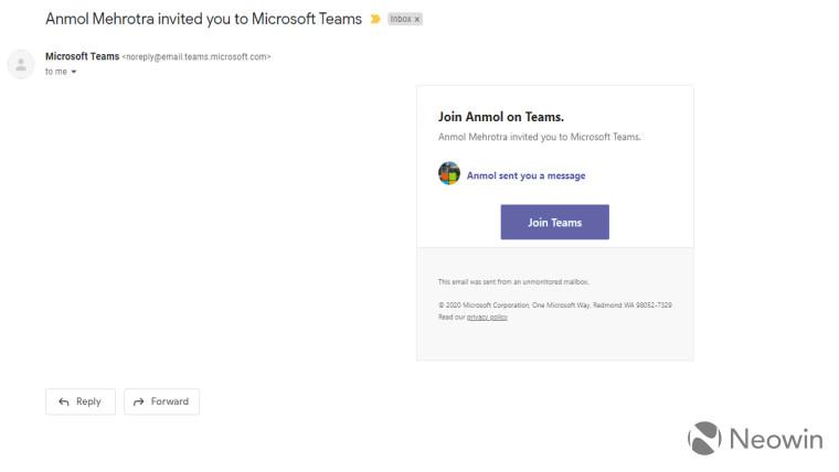 Screenshot of Teams invite