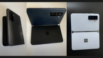 Leaked images of a dual screened Surface Duo 2 in black and while with triple cameras at the back