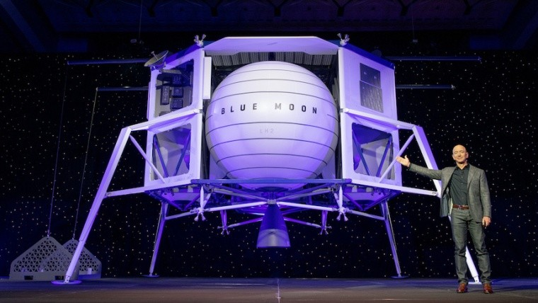 Jeff Bezos with Blue Moon