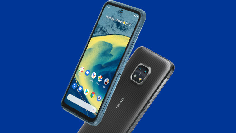 The Nokia XR20 on a blue background