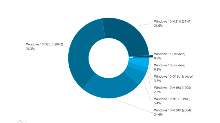 A pie chart showing usage shares of different Windows 10 versions and Windows 11