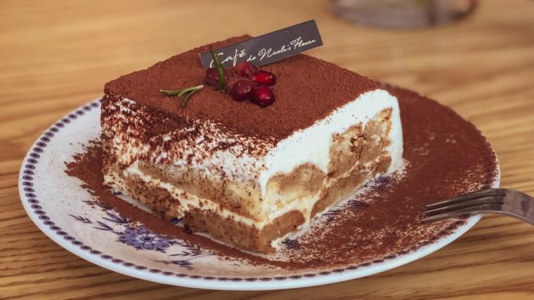 Garnished Italian dessert Tiramisu