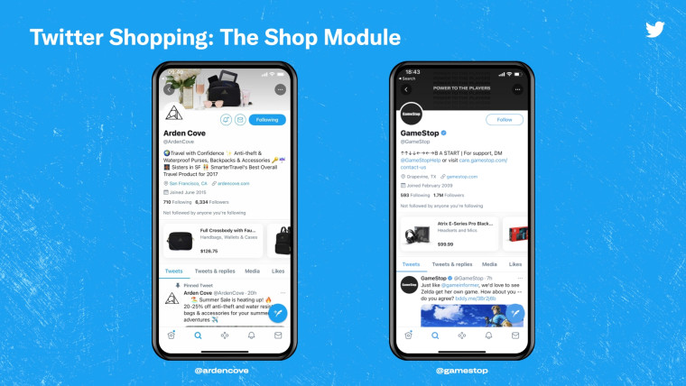 The Shopping Module on Twitter