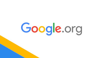 The Googleorg logo on a white blue and yellow background