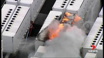 Tesla&039s Big Battery in Victoria burning