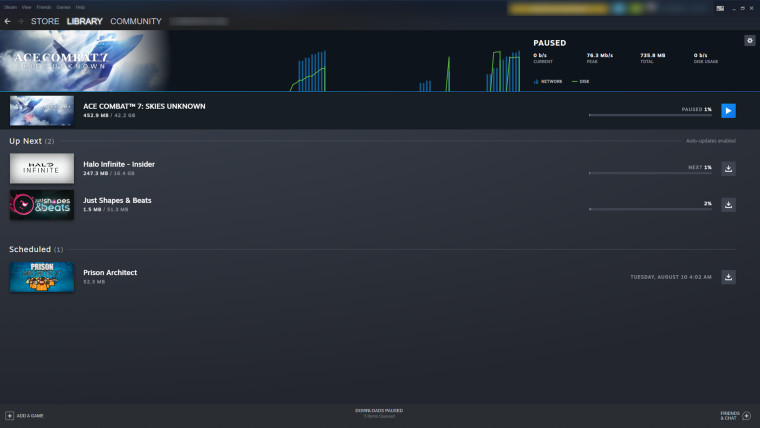 Steam beta overhauled downloads section