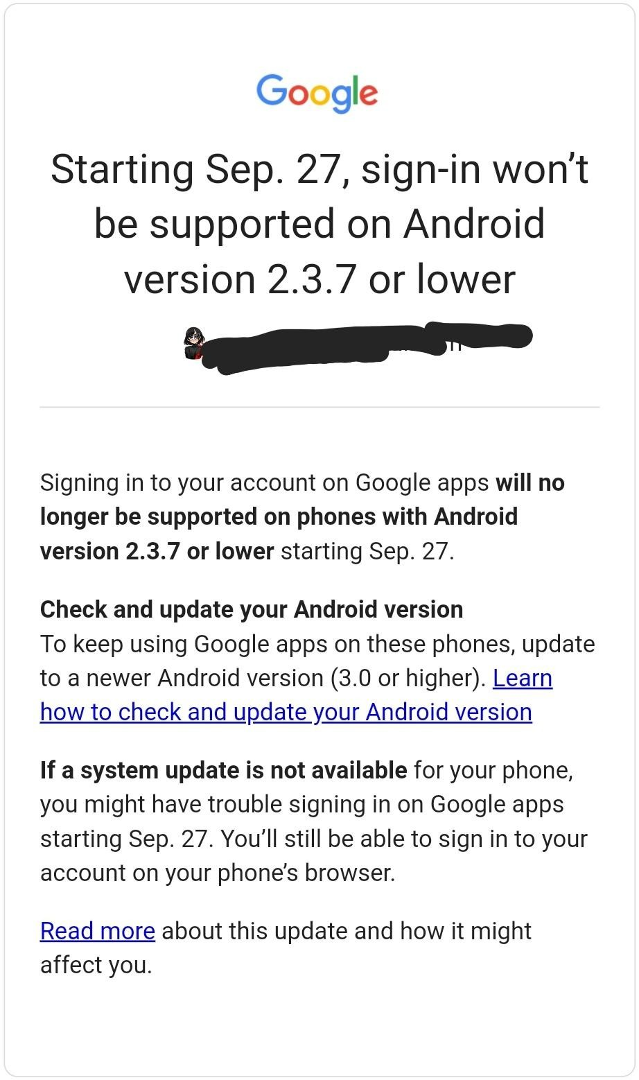 Screenshot of an email sent by Google for ending sign-in support