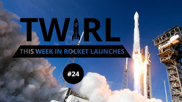 The TWIRL logo in front of an Atlas V rocket