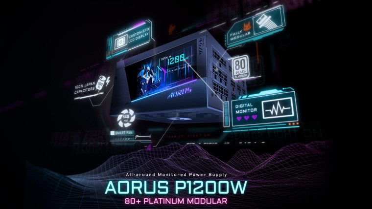 Gigabyte Aorus P1200W SMPS with LCD display
