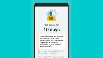 The self-isolation screen on the NHS COVID-19 app