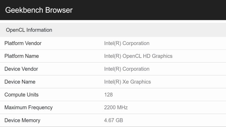 Geekbench leak showing Intel&039s Xe HPG SKU4 possible specifications