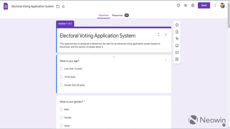 A Google Form about an electoral voting application based on blockchain