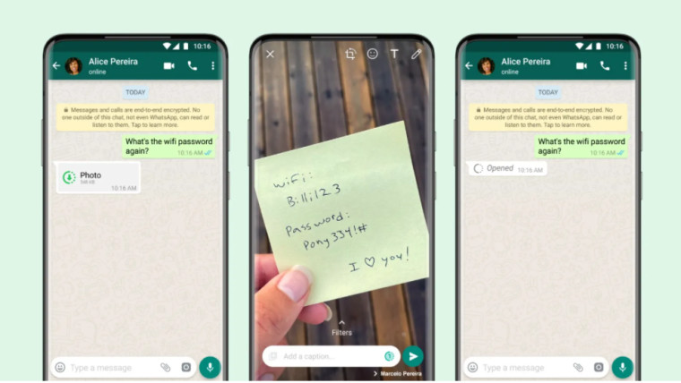 A graphic showing how to send view once media content on WhatsApp