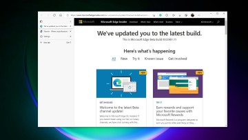 Microsoft Edge Beta window showing vertical tabs for Neowin and the whats new in Edge 93 tab