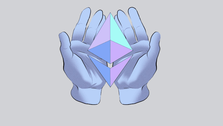 Hands holding the Ethereum logo