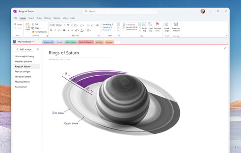 A mockup of the unified OneNote app housing rounded corners and tabbed UI