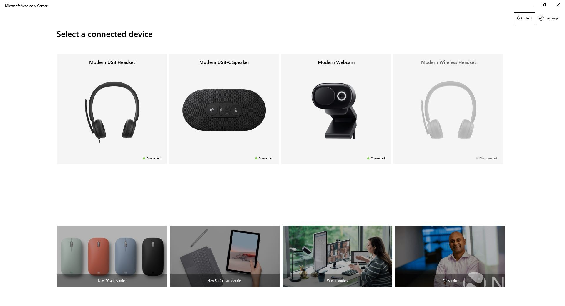 Microsoft Accessory Center main page showing connected devices
